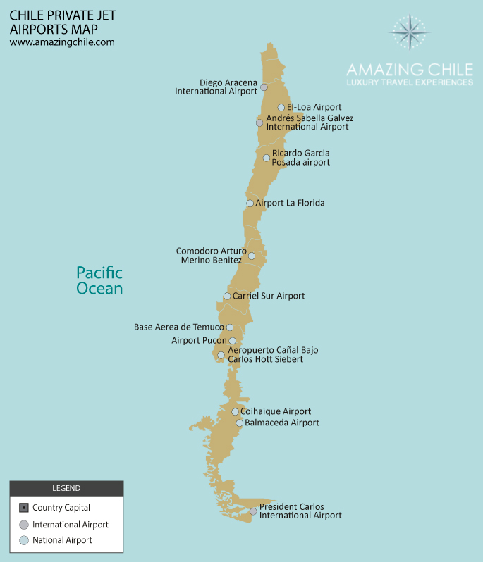 Chile Private Jet Heliports Map
